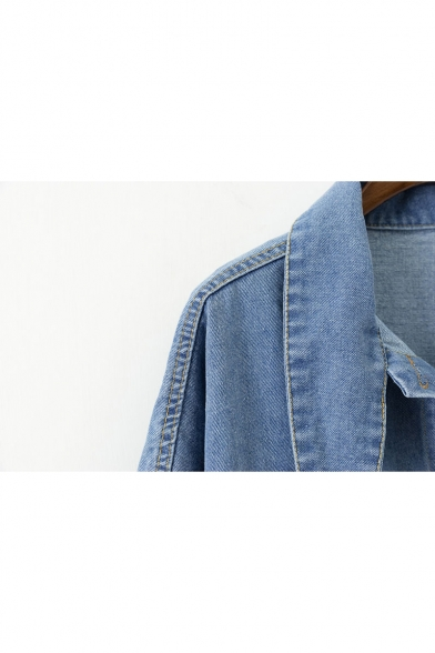 Denim Sleeve Lapel Buttons Long Collection New Collar Jacket Plain Down wXpWqEE8
