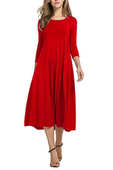 New Fashion Simple Plain Round Neck 3/4 Length Sleeve Midi Swing Dress