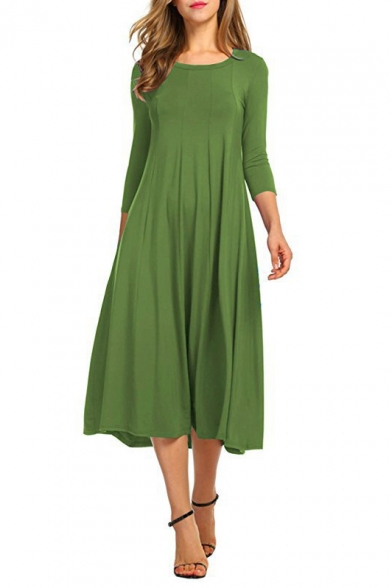 New Fashion Simple Plain Round Neck 3/4 Length Sleeve Midi Swing Dress