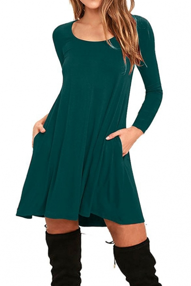 New Fashion Simple Plain Scoop Neck Long Sleeve Mini Swing Dress