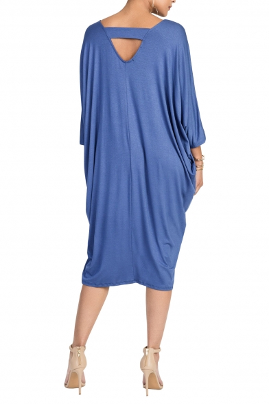 New Stylish Solid V-Neck Batwing Sleeve Loose Fit Midi Dress