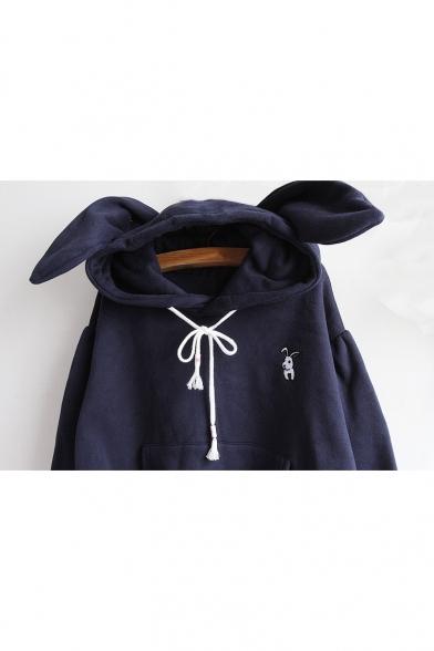 Simple Plain Rabbit's Ears Embellished Long Sleeve Hoodie
