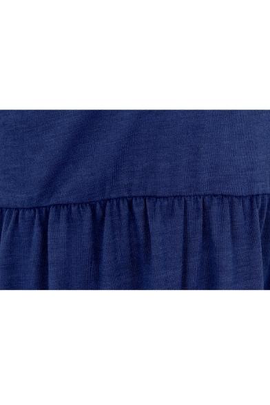 Simple Plain Scoop Neck Cap Shoulder Short Sleeve T-shirt Mini Dress