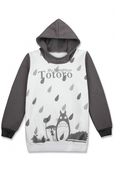 Long Cartoon Leisure Hoodie Totoro Pullover Sleeve Print OOzqE