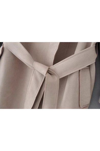 Chic Belted Waist Notched Collar Long Sleeve Plain Tunic Coat