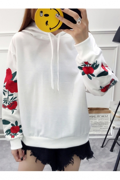 Color Block Floral Embroidered Long Sleeve Loose Pullover Hoodie