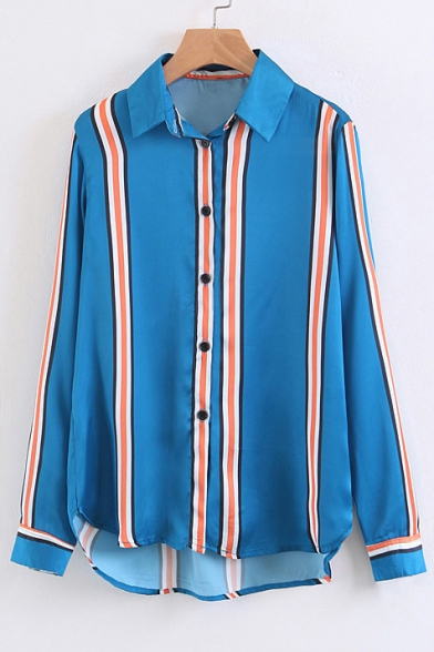 Buttons Long Shirt Down Panel Striped Sleeve Color Lapel Collar Block wxq0X0PZT
