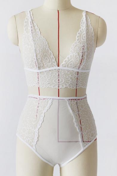 Hot Fashion Sexy Sheer Lace Inserted Plain Bra Set
