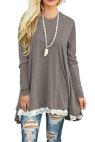 Loose Top Plain Lace Long Hem Simple Round Fashion Neck Sleeve New Longline PxvFq