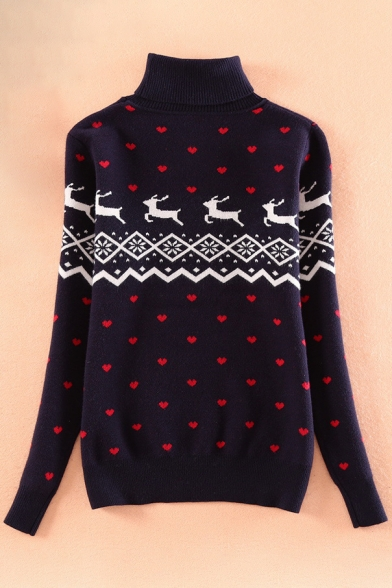 Pullover Turtleneck Print Stylish New Deer Long Sweetheart Sleeve Sweater qB1nPw