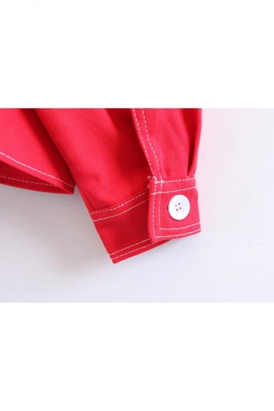 New Stylish Plain Notched Lapel Long Sleeve High Low Hem Denim Jacket