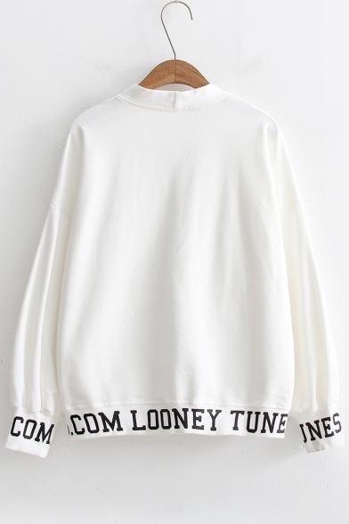 Long Neck Letter V Print Sleeve Trim Buttons Contrast Coat Cartoon Down UqaX8wgOxn