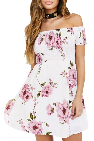 Chic Floral Pattern Off-the-Shoulder Short Sleeve Skater Mini Dress