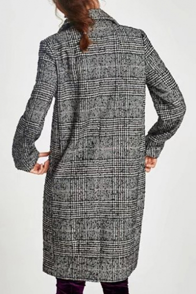 Classic Print Tunic Lapel Notched Breasted Double Plaid Coat pfpqPS
