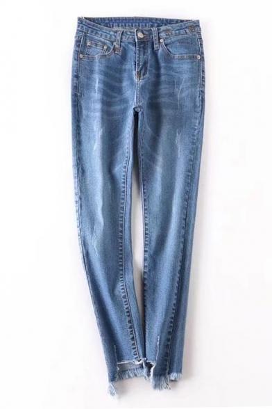 New Stylish Asymmetrical Fringe Hem Simple Plain Casual Jeans