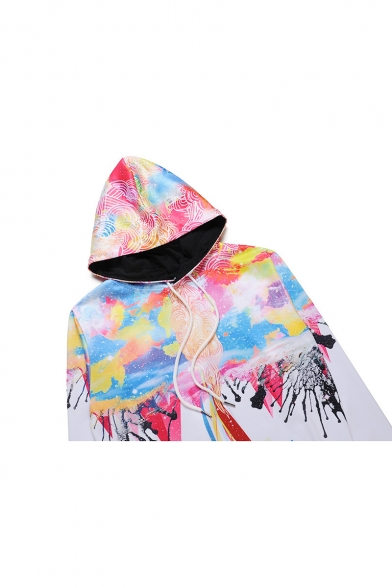 Color Pocket Long Drawstring New Hood Fit Hoodie Loose Sleeve Block Stylish 4cTwqPn5