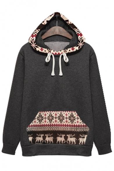 New Stylish Tribal Print Drawstring Hood Long Sleeve Hoodie