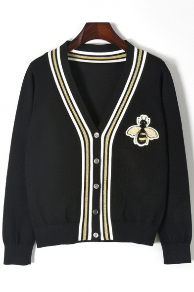 Fashion Embroidered Edge Neck Cardigan V Sleeve Stripe Long Bee trqz4pw5xt