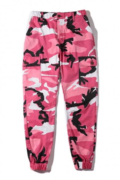Hip-Hop Stylish Camouflage Zip Fly Flap Pocket Unisex Pants