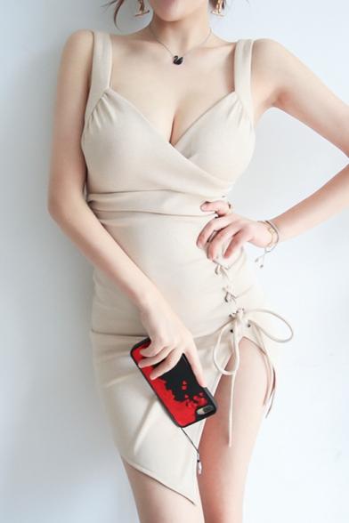 New Stylish Wrap Front Lace-Up Plain Mini Asymmetric Cami Dress