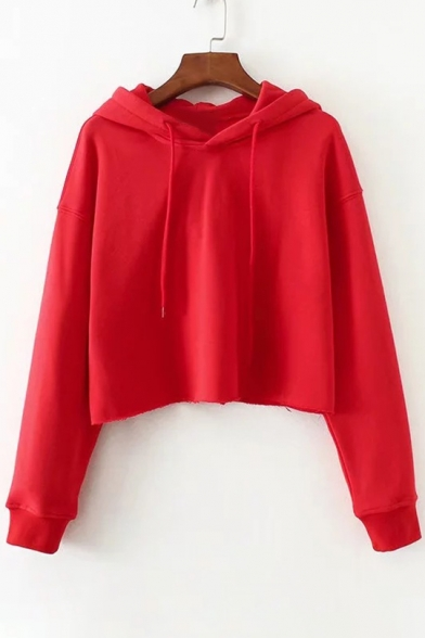 Hoodie Crop Plain Long Sleeve Hood Simple Drawstring BCgYUF