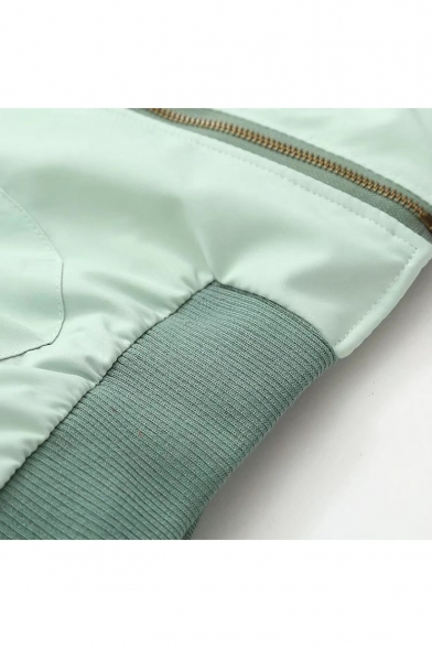 Stand-Up Long Sleeve Cartoon Pattern Back Zip Up Leisure Bomber Jacket