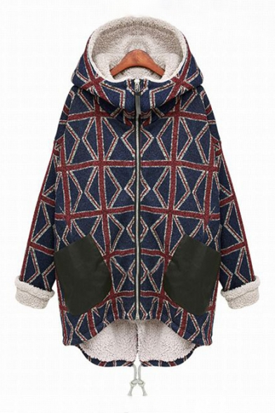 Color Block Plaid Pattern Hooded Contrast Cuff Zippered Long Sleeve Cotton Coat LC452691 фото
