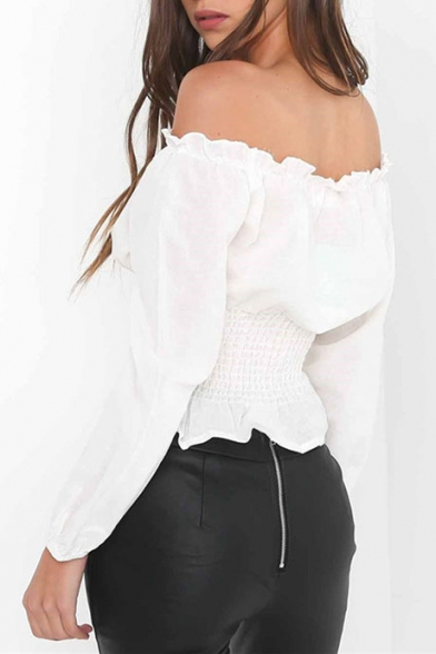 Hot Fashion Off The Shoulder Long Sleeve Plain Lace-Up Front Blouse