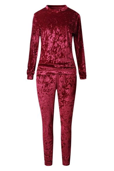 Leisure Crew Neck Long Sleeve Velvet Pullover Shirt with Velvet Pants