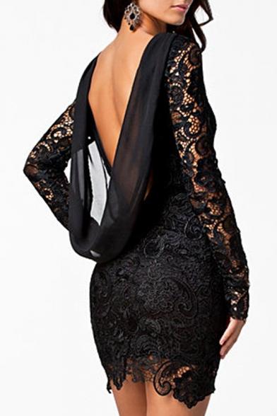 New Stylish Open Back Draped Back Round Neck Long Sleeve Lace Mini Dress