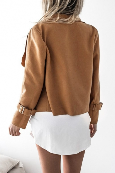 Simple Plain Oversize Lapel Belted Cuff Open Front Long Sleeve Coat