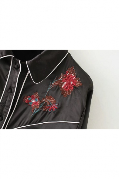 Chic Floral Embroidered Lapel Collar Long Sleeve Buttons Down Shirt
