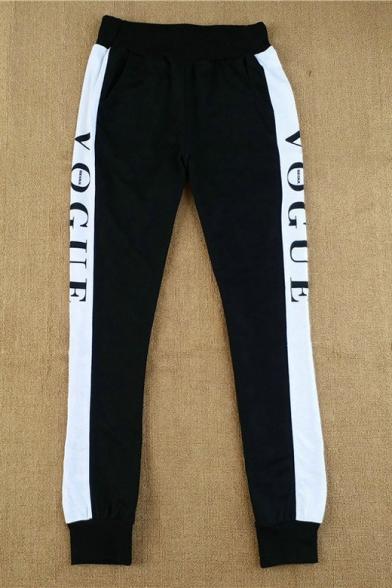 Color Block Letter Striped Side Elastic Waist Sports Pants