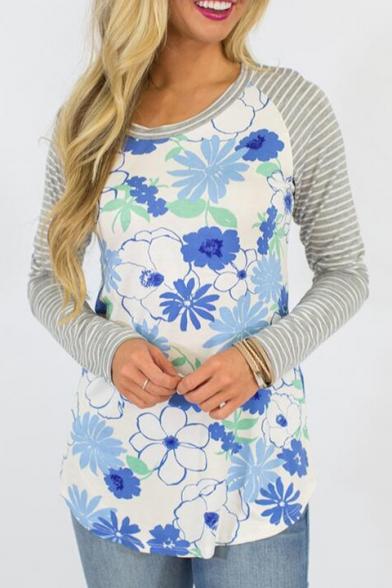 Pattern Ribbed Shoulder Sleeve Raglan Color Long Block Floral Top H7PqBZw
