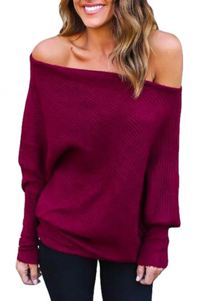 Fashion Off Shoulder Batwing Sleeve Textured Solid Pullover Sweater