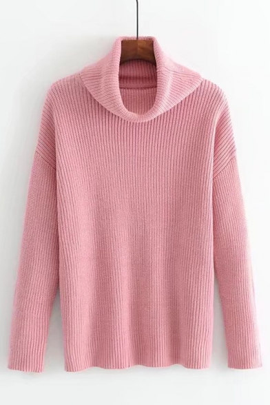 Plain Turtle Sweater Stylish Pullover Sleeve Long Simple Loose Ne X5q8x8