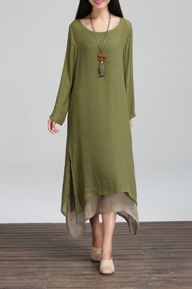 Dress Simple Layered High Retro Hem Block Sleeve Color Maxi Side Plain Split Low Long SxCZwOq