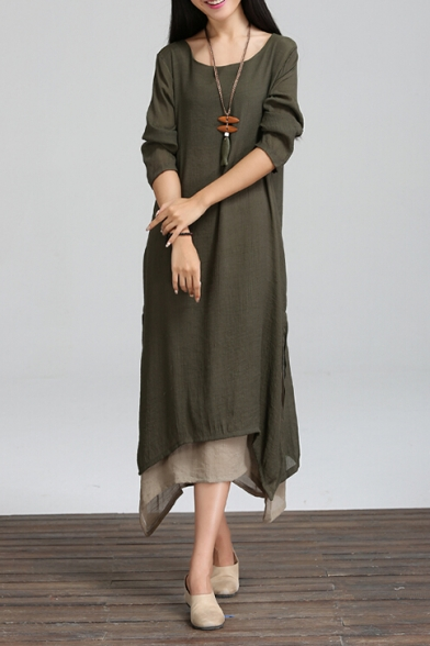 Retro Simple Plain Color Block Split Side Long Sleeve High Low Layered Hem Maxi Dress