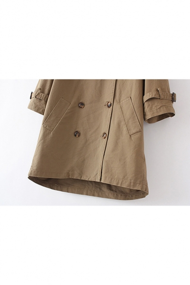 Retro Simple Plain Notch Lapel Double Breasted Long Sleeve Trench Coat