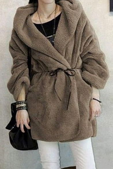 Collared Long Open Plain Coat Sleeve Simple Front Wool vHqTT1