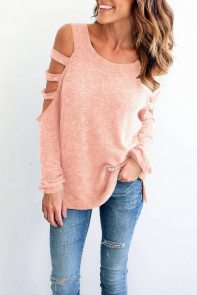 Hollow Long Round Sleeve Simple Plain Neck Out Tee wfH1a