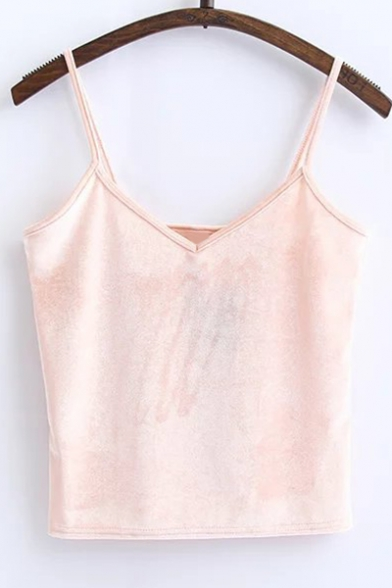 V Top Neck Plain Cami Cropped Velvet Simple 0EY5qOn66