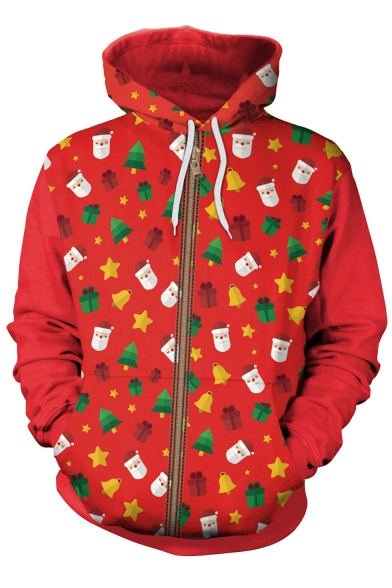Father Christmas Pattern Long Hoodie Sleeve Christmas 2017 Series fwqETp