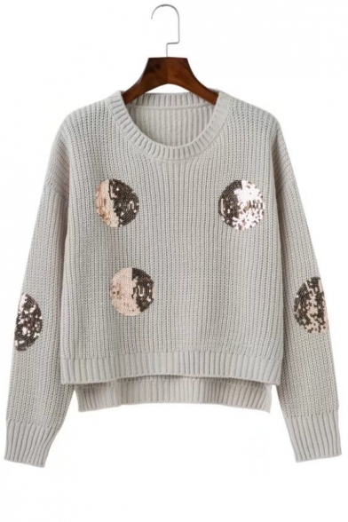Chic Beaded Pattern Pullover High Sweater Low Circle Hem Loose Embellished wCaFwqpOT