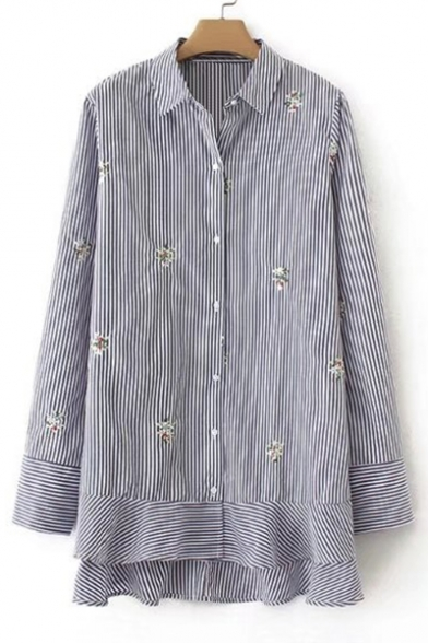 Chic Floral Embroidered Striped Print Lapel Collar Long Sleeve Buttons Down Shirt