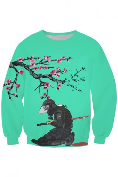 Color Block Floral Ninja Print Long Sleeve Sweatshirt