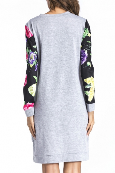 Color Block Floral Pattern Panel Dipped Hem Long Sleeve Short Dress with Pockets