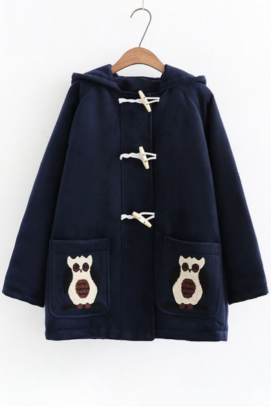 Cute Embroidered Pockets Hooded Long Sleeve Single Breasted Coat