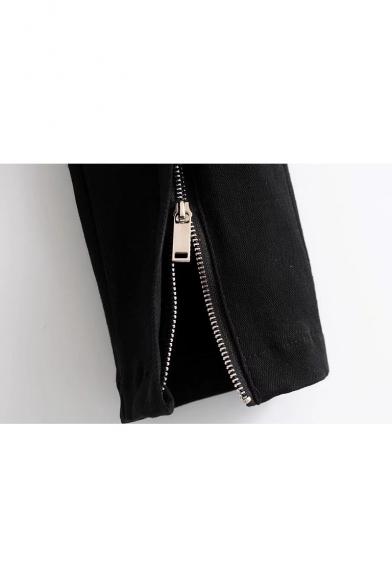 High Waist Buttons Fly Zipped Skinny Denim Jeans