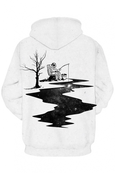 Fashion Astronaut Fishing New Print Casual Hoodie Long Pockets with Sleeve Leisure 4gOTy